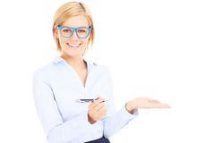 Happy businesswoman with a pen stock image