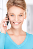Happy businesswoman with phone Stock Image