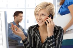 Happy businesswoman on phone call Royalty Free Stock Photography