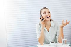 Happy Businesswoman On Phone Call Royalty Free Stock Images