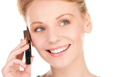 Happy businesswoman with phone Royalty Free Stock Photos