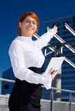 Happy businesswoman. Picture of happy businesswoman in the city Stock Photos