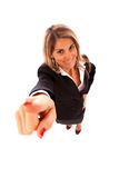 Happy businesswoman pointing Royalty Free Stock Images