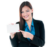 Happy Businesswoman Pointing At Card Royalty Free Stock Images