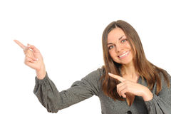 Happy businesswoman pointing at copy space Royalty Free Stock Image
