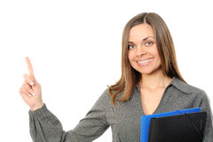 Happy businesswoman pointing at copy space Royalty Free Stock Photo