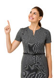Happy Businesswoman Pointing Upwards Royalty Free Stock Photos