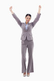 A happy businesswoman posing with the arms up Royalty Free Stock Photo