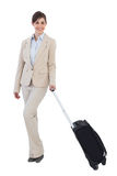 Happy businesswoman posing with suitcase Stock Photos