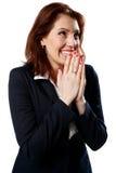 Happy businesswoman praying Royalty Free Stock Photo