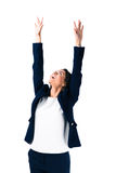 Happy businesswoman with raised hands up Stock Photography