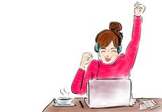 Happy businesswoman with raised in yes gesture hand reading letter at desk in front of laptop. vector illustration