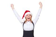 Happy businesswoman raising hands up Stock Image