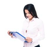 Happy businesswoman reading document Stock Image
