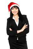 Happy businesswoman in red santa hat Royalty Free Stock Photo