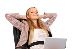 Happy businesswoman relaxing Royalty Free Stock Photos