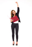 Happy businesswoman with ring binder. Royalty Free Stock Images