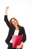 Happy businesswoman with ring binder. Royalty Free Stock Photos