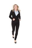 Happy Businesswoman Running Over White Background Stock Photo