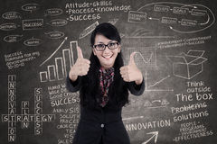 Happy businesswoman show thumbs up in class. Businesswoman thmbs up on written chalkboard background Stock Photos