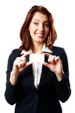 Happy businesswoman showing blank business card Royalty Free Stock Images