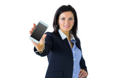 Happy businesswoman showing her phone Royalty Free Stock Photography