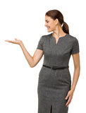 Happy Businesswoman Showing Invisible Product Stock Images