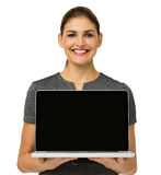 Happy Businesswoman Showing Laptop Royalty Free Stock Photo