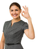 Happy Businesswoman Showing Okay Sign Royalty Free Stock Photos