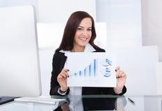 Happy Businesswoman Showing Progress Chart Royalty Free Stock Photos