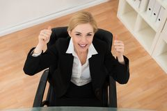 Happy Businesswoman Showing Thumb Up Sign Royalty Free Stock Photo