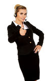 Happy businesswoman shows OK sign Royalty Free Stock Photography