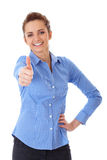 Happy businesswoman shows thumb up, isolated Stock Image