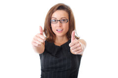 Happy businesswoman shows thumbs up, isolated Stock Photo
