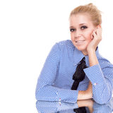 Happy businesswoman siting on reflection table Royalty Free Stock Photo