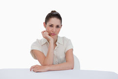Happy businesswoman sitting Stock Photos