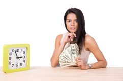 Happy businesswoman sitting at the table with money Stock Photography