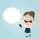 Happy businesswoman with smartphone and empty speech bubble Royalty Free Stock Image