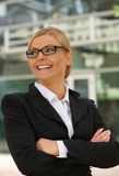 Happy businesswoman smiling outdoors Stock Photo