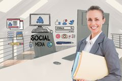Happy businesswoman by social media icons in office Stock Photos
