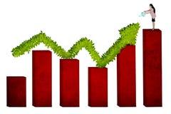 Happy businesswoman watering upward arrow stock photos