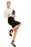 Happy businesswoman with success hand gesture Royalty Free Stock Photos