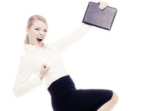 Happy businesswoman with success hand gesture Stock Images