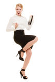 Happy businesswoman with success hand gesture Stock Photos