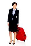 Happy businesswoman with suitcase. Royalty Free Stock Photo