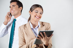 Happy businesswoman with tablet Royalty Free Stock Photo