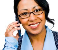 Happy businesswoman talking on mobile Royalty Free Stock Photo