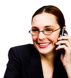 Happy businesswoman talking on mobile Stock Image