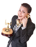 Happy businesswoman talking phone. Stock Image