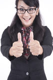Happy Businesswoman with thumbs-up. Business woman showing thumbs up, isolated on white background Stock Photos